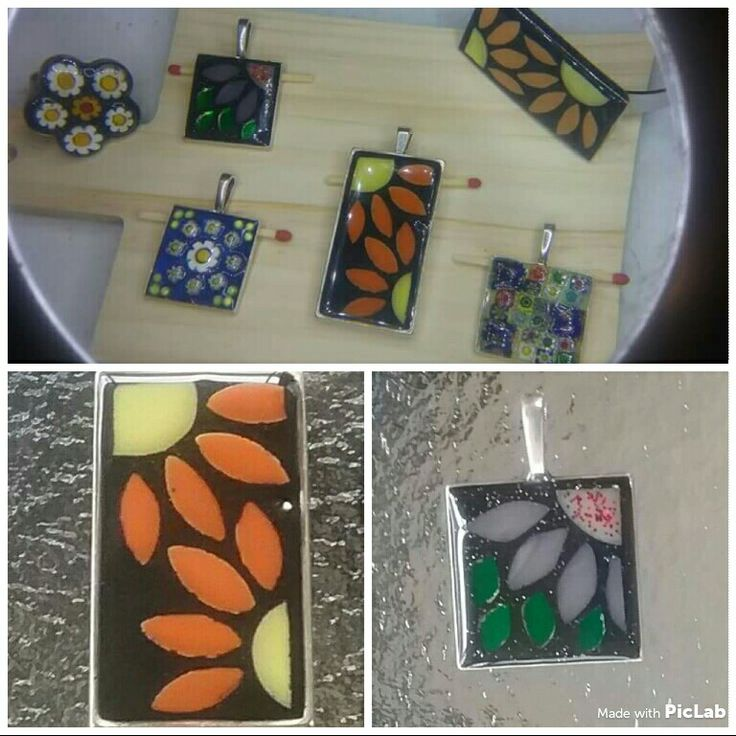 A combination of mosaic & resin jewellery items l made. 😊