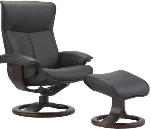Scandinavian Fjords Senator Large Leather Recliner and Ottoman - Norwegian Ergonomic Scandinavian Reclining Chair in Soft Line Genuine TigerEye Leather Espresso Wood -- Check out the image by visiting the link.