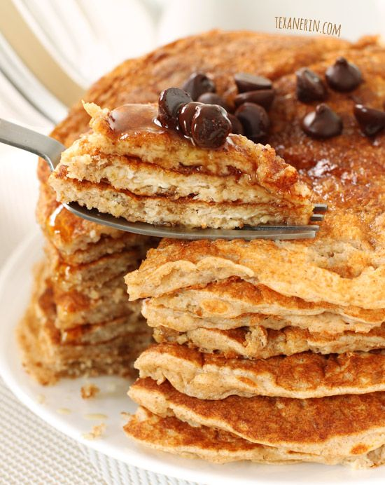 Image of 100% Whole Grain Pancake Mix and variations (recipe makes bulk mix that can be kept in fridge)– these whole wheat pancakes don't taste the least bit healthy! From texanerin.com