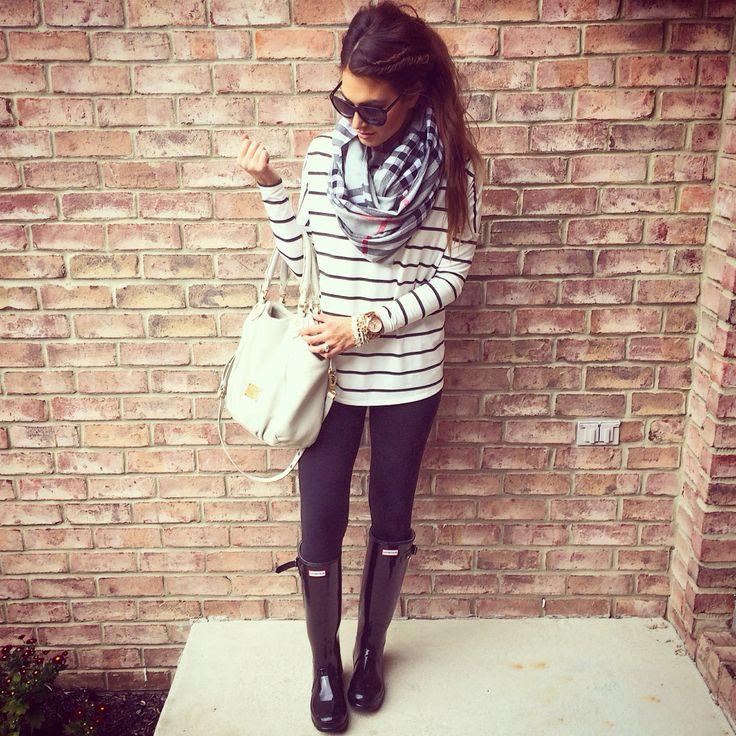 black leggings or black skinny pants, black boots, striped shirt tunic, black white plaid scarf