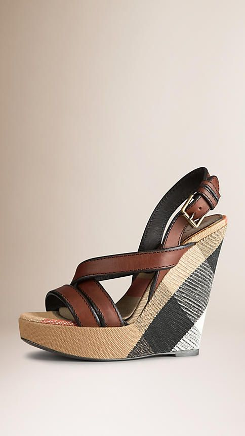 Burberry Dark Tan Canvas Check Leather Platform Wedges - Unique Canvas check platform wedges Elegant leather straps with contrast hand-painted edges, buckle closure. Discover the shoes collection at Burberry.com