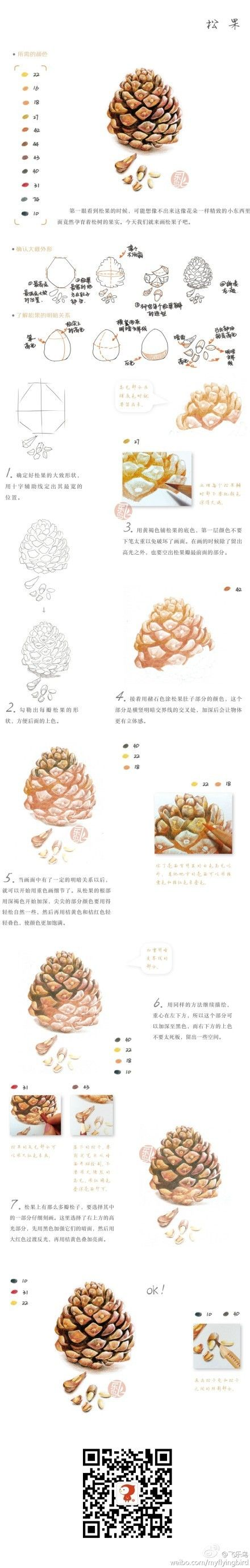 tutorial to draw the most realistic shading for a pinecone.