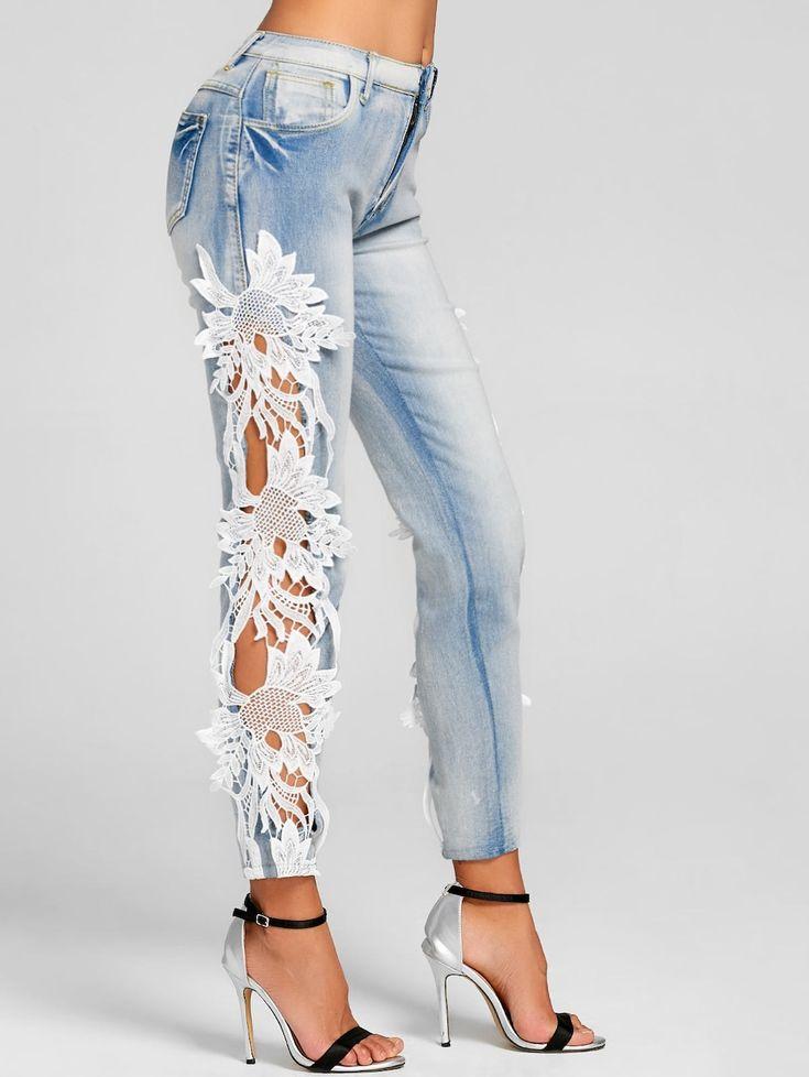 Lace Panel Light Wash Skinny Jeans - DENIM BLUE L