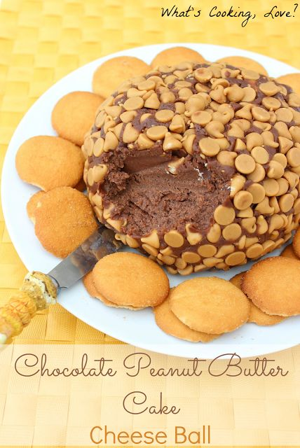 Chocolate Peanut Butter Cake Cheese Ball.  This dessert version of a cheese ball is a great appetizer for any party.  It tastes just like chocolate peanut butter cake!  #cheeseball #appetizer #chocolate