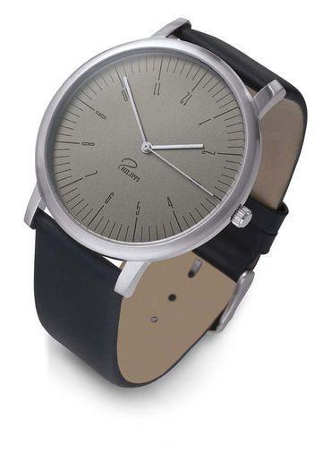 Philippi Horloge 'Tempus MG1' met lederen band en geborsteld edelstalen klok.