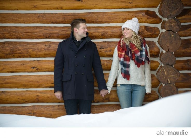 Engagement session in deep snow, log cabin, Canadian Rockies Wedding Photographers, Lake Louise Wedding Photographer