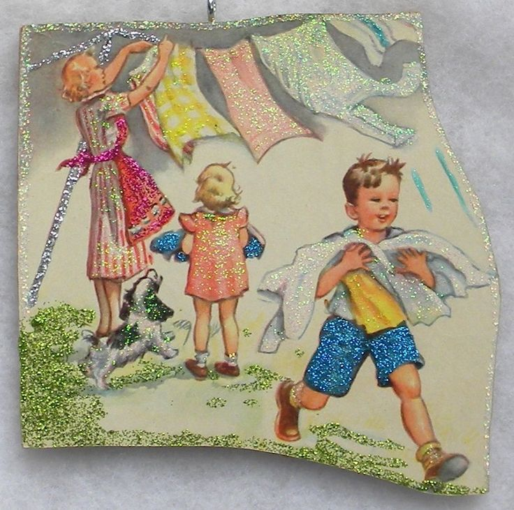 Kids Help Mom Take In Laundry Vtg Book Image Glittered Wood Christmas Ornament