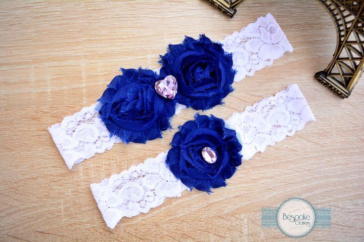 Cobalt Blue Bridal Garter, Lace Garter, Vintage Garter, Rustic Garter, Lace Bridal Garter, Lace Garter Set, Garter Wedding, Bridal Garters by BespokeGarters on Etsy