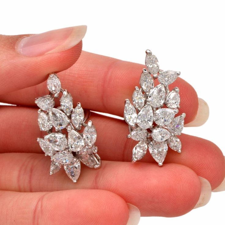 Marquise and Pear-Shaped Diamond Gold Clip-Back Earrings at 1stdibs