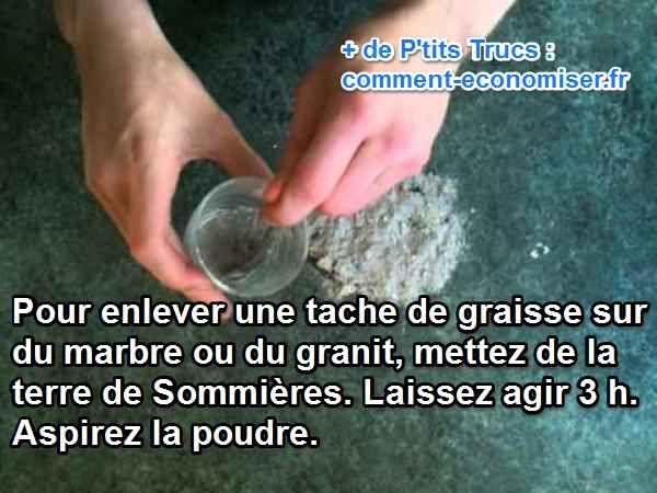 Ma grand-mère utilisait un truc miraculeux pour éliminer les taches de graisse sur le plan de travail de sa cuisine en marbre. Cette astuce, c'est la terre de Sommières. Tout comme elle élimine les taches d'huile sur vos parquets, elle peut également redonner vie à vos granits et vos marbres.   Découvrez l'astuce ici : http://www.comment-economiser.fr/taches-granit-marbre-sommieres.html?utm_content=bufferc5ebc&utm_medium=social&utm_source=pinterest.com&utm_campaign=buffer