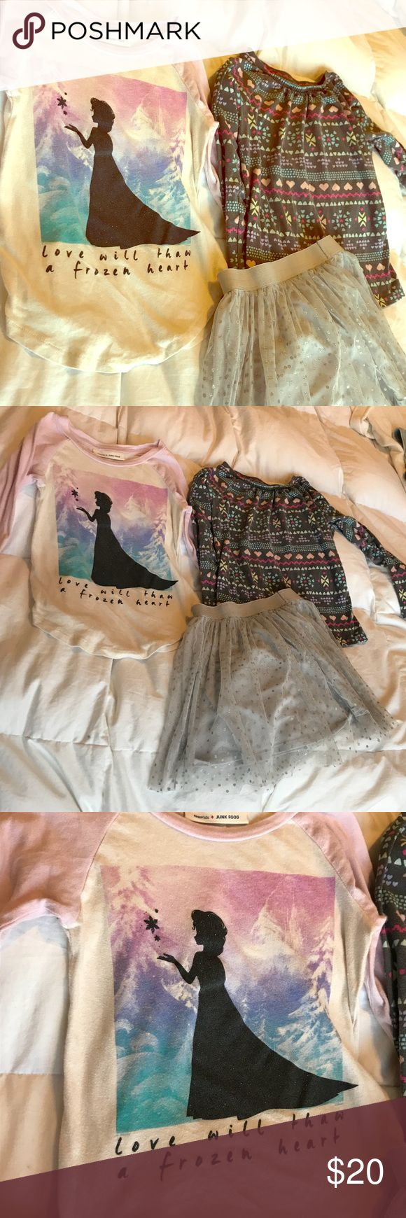 3 piece Frozen themed girls size 6-6x lot ❄️ 2 long sleeve cotton shirts and lined tulle silver polka dot sequin skirt.  Both shirts have minimal wash wear but no stains or rips.   Adorable stuff !! Shirts & Tops Tees - Long Sleeve
