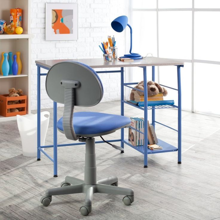 Childrens Study Table and Chair Set - Blue. Metal frame with laminate wood desktop. Chair is ergonomically designed for lumbar support. Adjustable height and five wheels. Really cute.