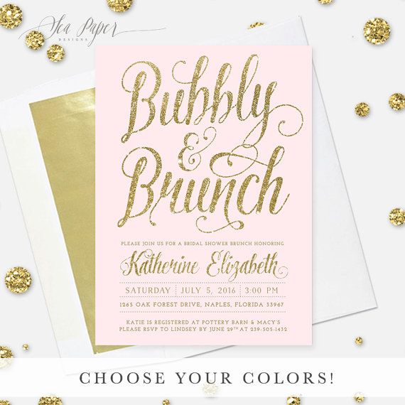 The Ava Bubbly & Brunch Invite features blush pink background with faux gold glitter lettering. Its a classy, glam and pretty invitation that will set the tone for a gorgeous Bridal Shower. The invitation can be changed to any colors and say anything in place of Bubbly & Brunch. Add the couples names to the back, your choice of text or a full-sized photo. Pair with our gold-foil lined envelopes for a complete look! See all matching items…