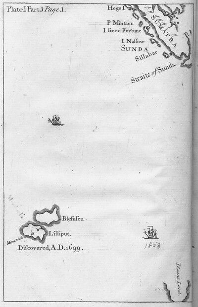Map of Lilliput from Gulliver's Travels