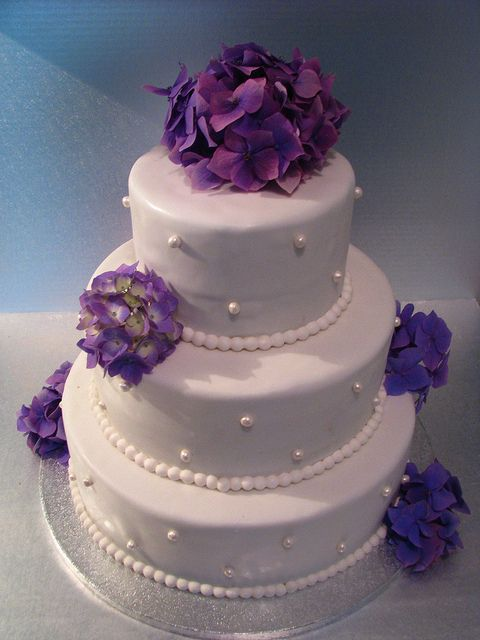 simple wedding cake pictures   Simple and Classic Wedding cake with Purple Hydrangeas   Flickr ...