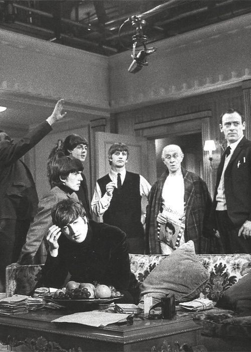 cheap-pine:   The Beatles on the set of 'A Hard day's Night'  Do I snore, John? Really digging this photo here.