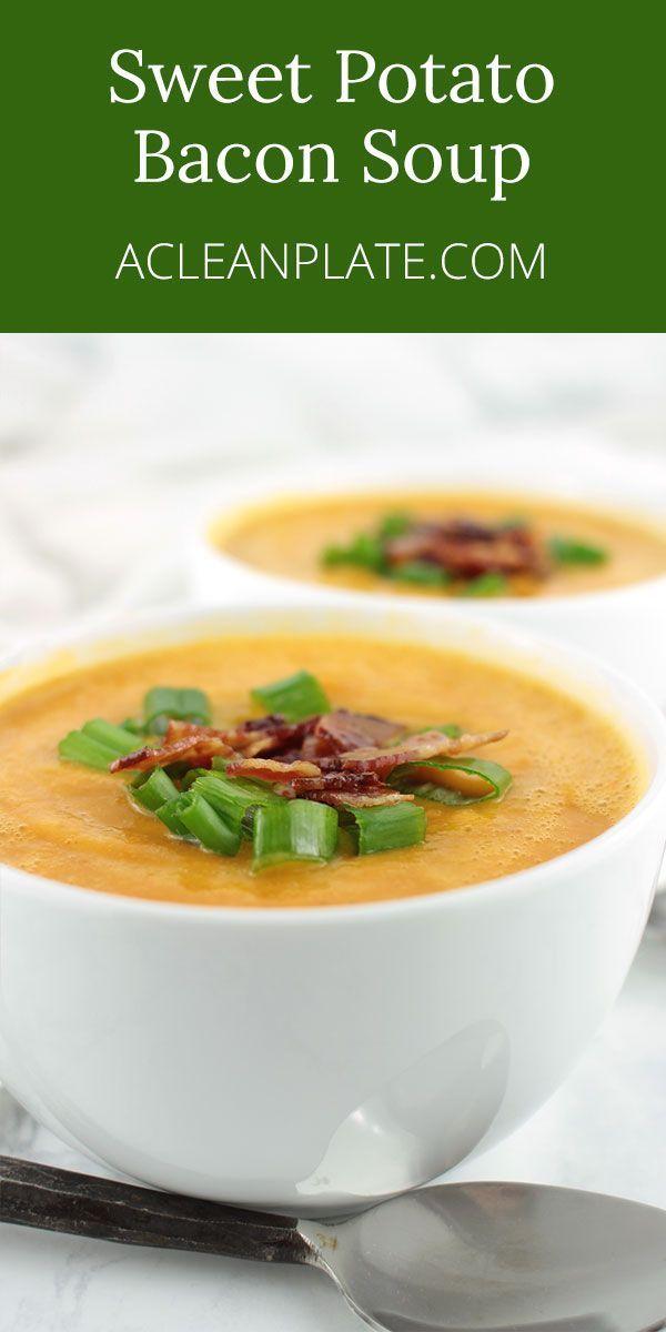 This Creamy, Comforting Sweet Potato Bacon Soup has a secret ingredient: artichoke. You've gotta try it!