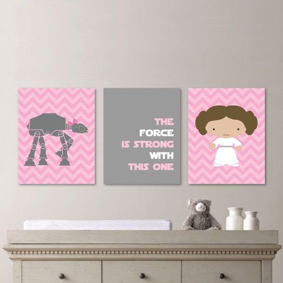 Baby Girl Nursery Print Art - Chevron Art - Star Wars Nursery Decor - Star Wars Nursery Art - Leia - Pink Gray - You Pick the Size (NS-474) on Etsy, $20.00