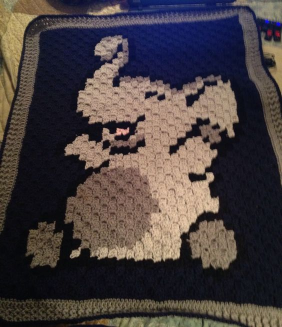 """I completed this cute C2C elephant blanket last night for a baby shower gift. I used """"I Love This Yarn"""" #4 worsted weight from Hobby Lobby ..."""