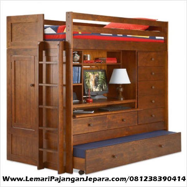 Jual Tempat Tidur Tingkat Sorong Multifungsi merupakan Produk Mebel asli dari Jepara dengan Desain Tempat Tidur Anak Minimalis Jati Sorong
