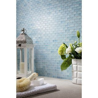 shop for quartz blue glass mosaic tile pack of 5 get free delivery - Abnehmbare Backsplash Lowes