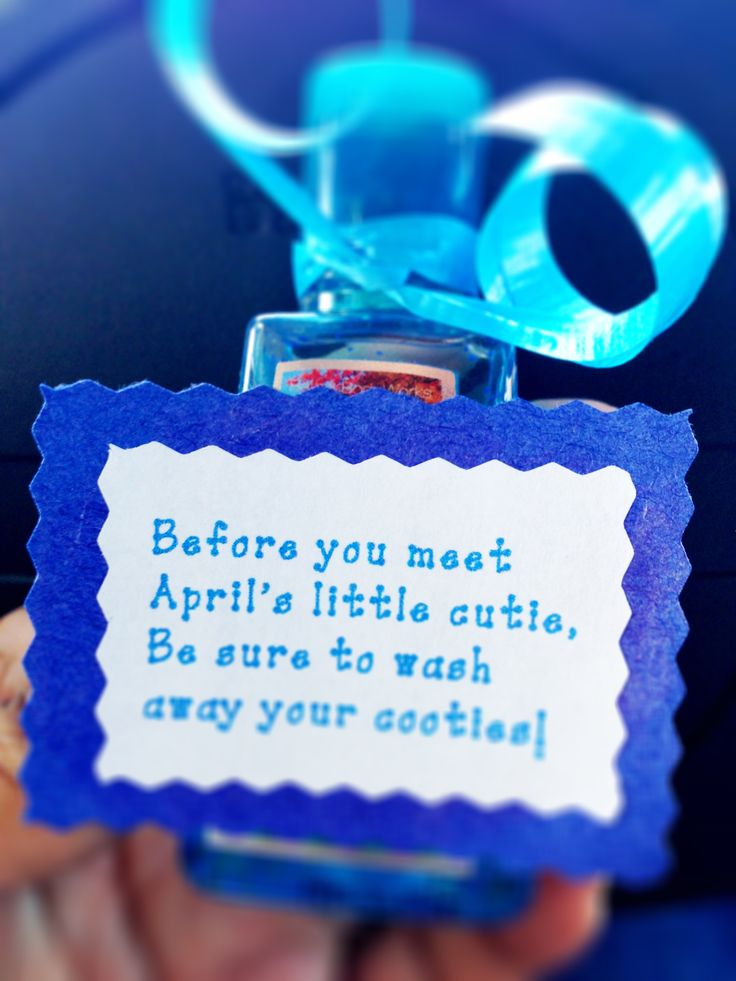 Throwing a baby shower? Give a cute little hand sanitizer as party favors!!