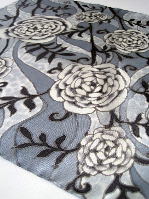 Pocket square art Silk handkerchief - Grey pocket square roses Floral pocket square silk - Black white hanky Suit hankies Mens handkerchief