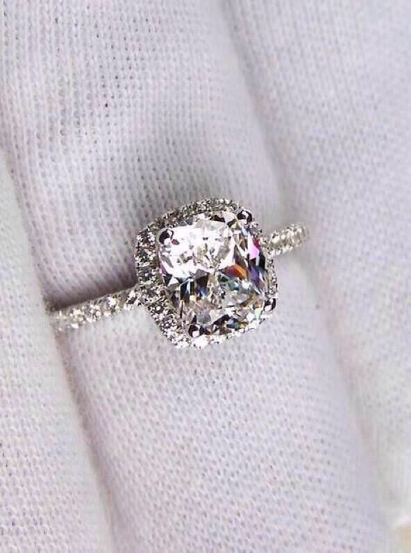 Cushion Cut Engagement Ring :)