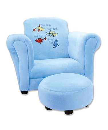 Take a look at this Blue 'One Fish Two Fish' Chair & Ottoman by Dr. Seuss Boutique on #zulily today!~~I WISH I could afford to buy this for our preschool classroom!!!  Such a cozy place for the kids to look at books and have some quiet time...