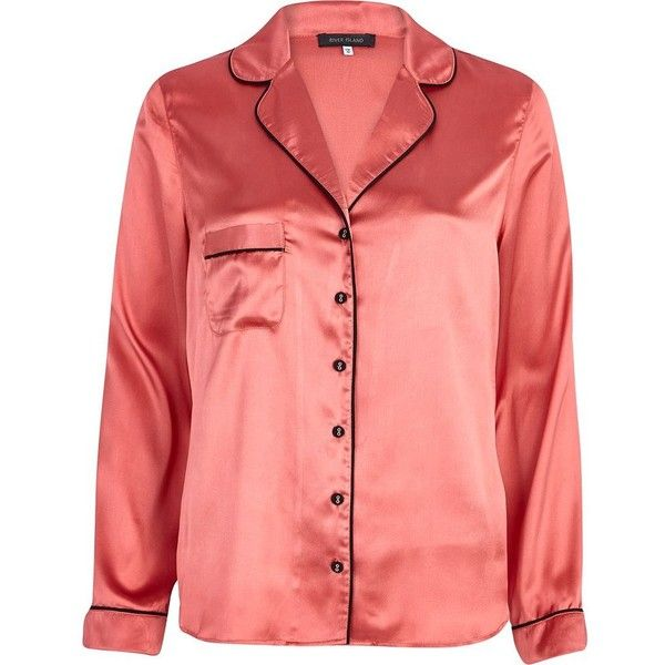 River Island Pink satin pyjama top (30 BRL) ❤ liked on Polyvore featuring intimates, sleepwear, pajamas, pyjama, sale, pink pjs, satin pyjamas, satin pajamas, satin pjs and pj tops
