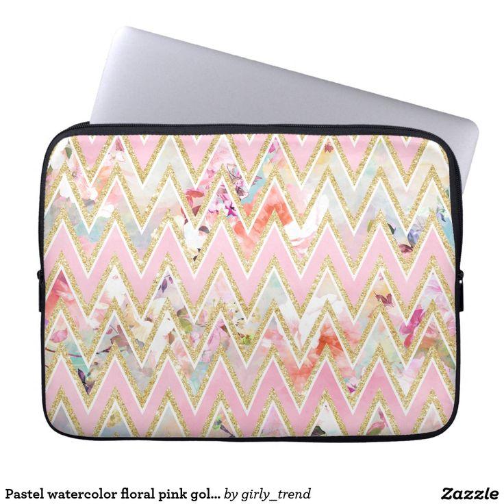 Pastel watercolor floral pink gold chevron pattern laptop sleeve