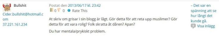 Anonymt Troll vill inte att jag skriver om grisar #näthat #troll #debatt #sverige