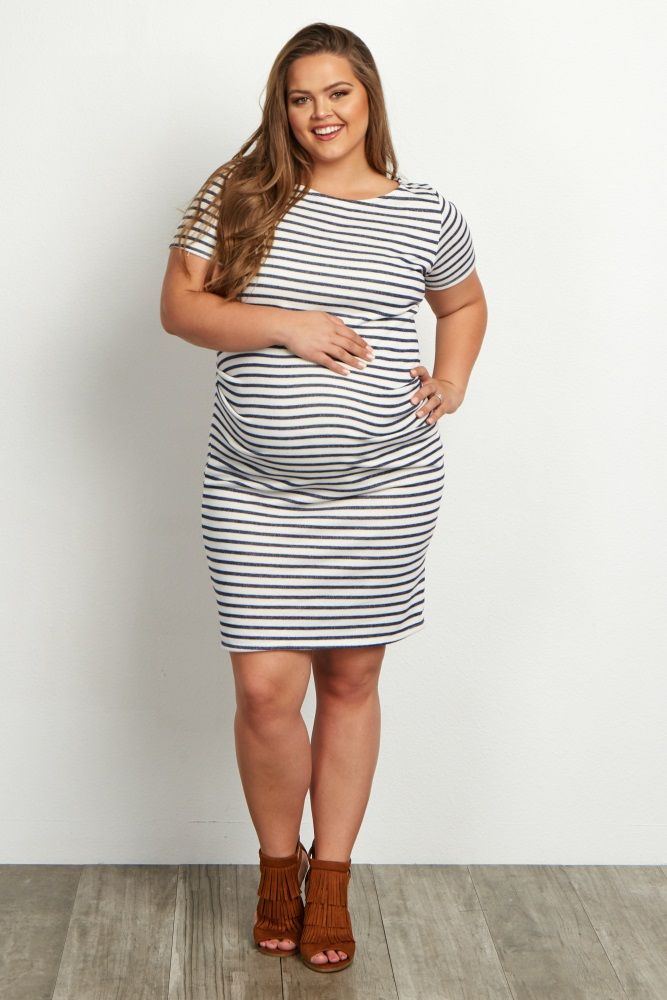 Ivory-Navy-Striped-Fitted-Short-Sleeve-Plus-Size-Dress