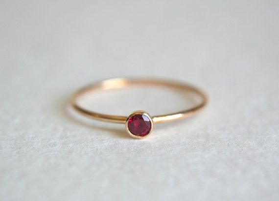 nice One Gold Filled Ruby Ring, Stacking Ring, 14k Gold Ring, Dainty Ring, Stackable Ring, Ruby Gemstone Ring, Simple Ring