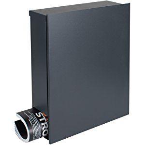 MOCAVI Box 111 Design-Briefkasten mit Zeitungsfach anthrazit-grau (RAL 7016) Wandbriefkasten, Schloss rechts, groß, Aufputzbriefkasten dunkelgrau, Postkasten anthrazitgrau modern mit Zeitungsrolle