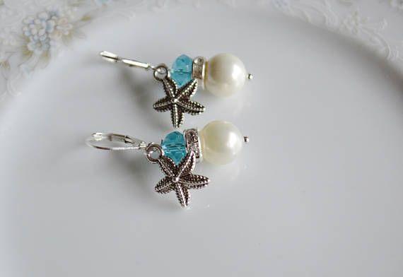 Pearl and starfish crystal dangle earrings beach wedding
