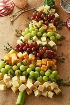 Invite some family or friends over for a Christmas decorating party! The best part is - you don't have to actually DECORATE! Put your creativity into the food instead - and you can even keep it healthy! Check out this cheese and fruit Christmas Tree tray...