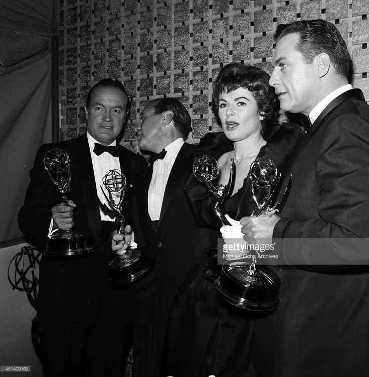 Actor Bob Hope with his Golden Globe Award for For an Ambassador of Good Will in Los Angeles, California.