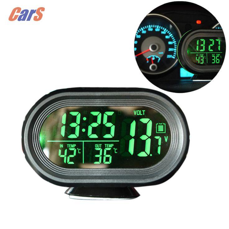 Hot Sale12V/24 V Baterai Digital Auto Car Thermometer Mobil Voltmeter Tegangan Meter Tester Monitor Bercahaya Jam Freeze Siaga