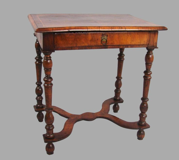 f9162 a lovely william and mary period walnut occasional table the quarter veneered crossbanded top with chevron inlay above a single drawer supported