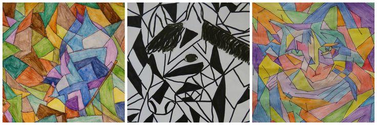 Geïnspireerd door de stijl van Franz Marc (kunstwerken van groep 7/8).