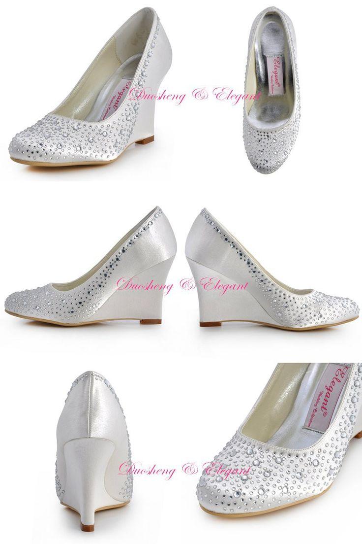EP2003 Mulheres Bombas de Festa de Casamento Da Noiva Damas de Honra De Prata Marfim Branco Saltos de Cunha Strass Cetim sapatos de Noiva Sapatos de Noite do baile de Finalistas em Bombas das mulheres de Sapatos no AliExpress.com | Alibaba Group