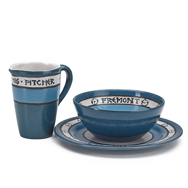 Lot# 116 FANNIE LEVINE SATURDAY EVENING GIRLS Three-piece breakfast set for Fremont: pitcher, bowl, and plate decorated in cuerda seca with blossoms, Boston, MA, 1923 All marked S.E.G./FL/2.23 Pitcher: 4 1/2 x 4 1/2 x 3, bowl: 2 1/2 x 5 1/4, plate: 7 3/4 dia. Auction Date: Sat, June 08, 12:00PM Estimate: $1,000 - $1,500