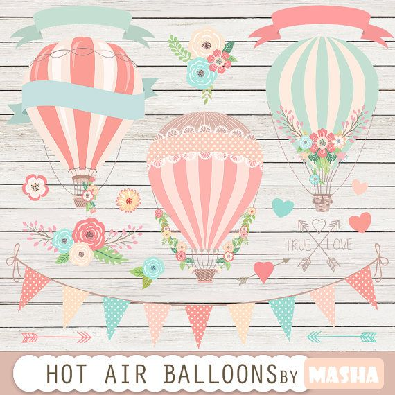 "Hot air balloons clip art: ""Hot Air Balloon Clipart"" for wedding invitations, save the date cards, baby showers, birthday parties, scrapbook"