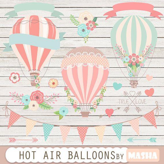 """Heißluftballone ClipArt: """"Hot Air Balloon Clipart"""" für Hochzeitseinladungen, speichern die Date-Karten, baby-Duschen, Geburtstagsfeiern, Sammelalbum"""
