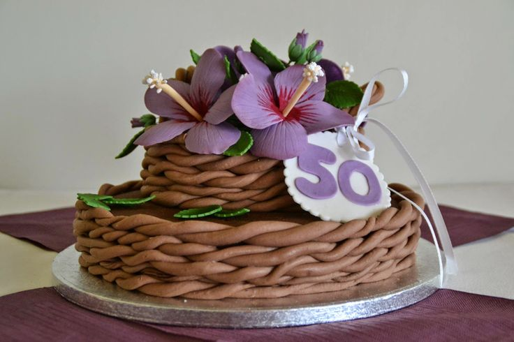 Hibiscus Basket Cake (50th birthday)
