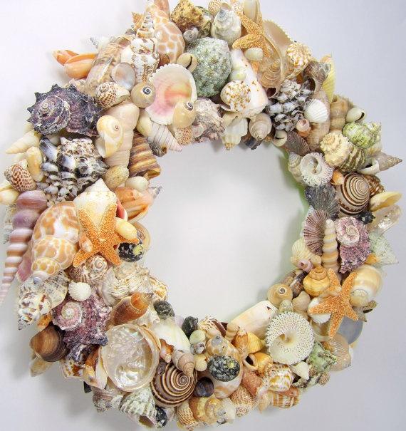Beach Decor Seashell Wreath - Nautical Decor Shell Wreath w Starfish, Fully Covered via Etsy