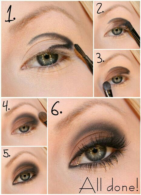 Matita nera usata come ombretto per creare ombra nella piega dell'occhio,  ombretto marrone medio su tutta la palpebra. Matita o eyeliner nero nella rima inferiore e superiore per definire lo sguardo