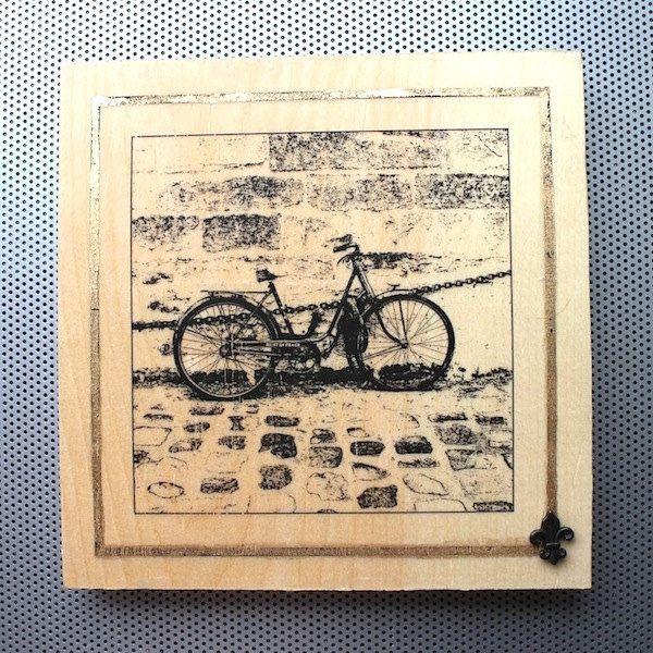"""New to dustonmyboots on Etsy: City of Delight #24 """"Rust in Peace"""" rusty bicycle chained up in Paris OOAK handmade 8x8"""" photo print (toner gold leaf beeswax wood block) (75.00 CAD)"""