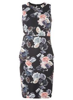 Black Floral Scuba Zip Dress